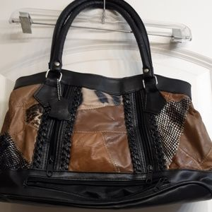 A leather handbag